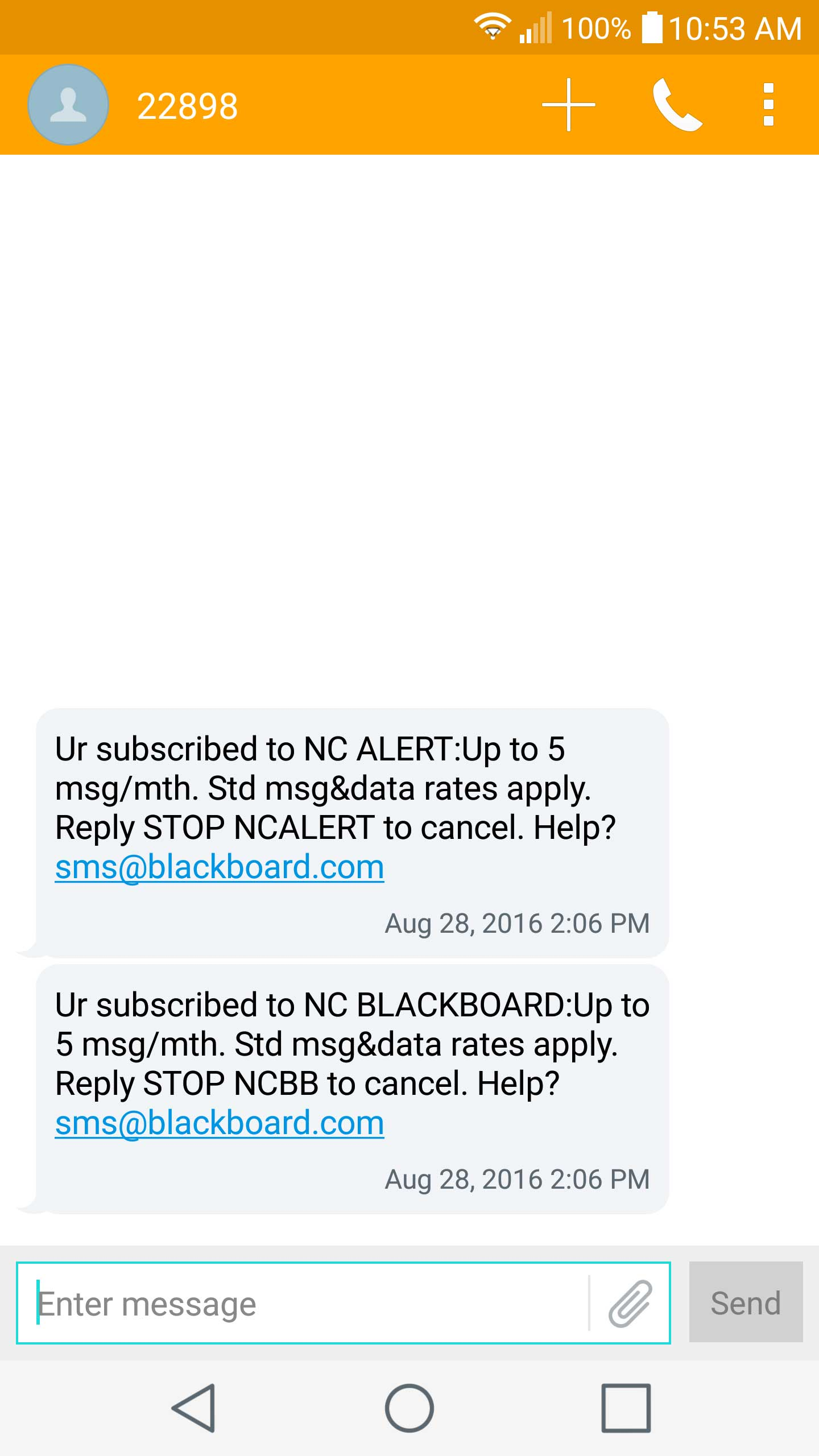 An example reminder texts sent by notification system
